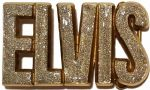 Elvis Letters Silver Glitter on Solid Brass Belt Buckle + display stand. Product code: EK1